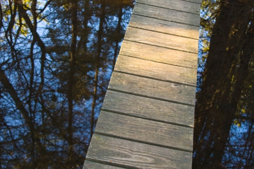 Batona Trail reflection with footbridge.