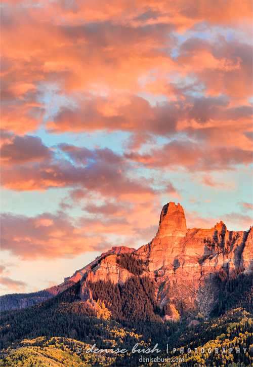 'Autumn Alpenglow, Chimney Rock' © Denise Bush