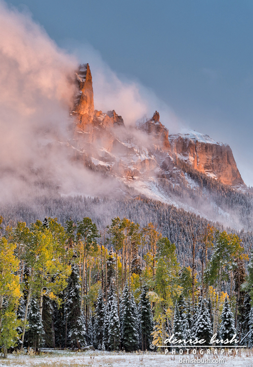 'September Snow At Chimney Rock' © Denise Bush