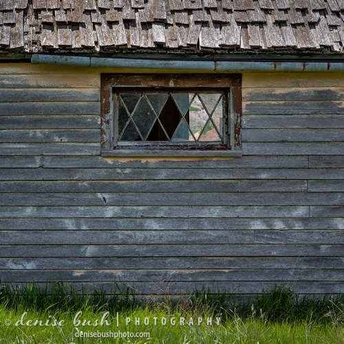 An old abandoned shack displays an unusual detail for such an otherwise simple structure.