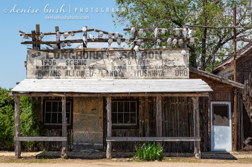 An interesting abandoned saloon sign reads 'Indians allowed' with cow skulls hanging overhead.