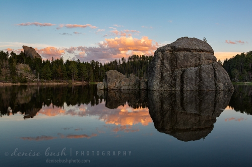 Sunset on Sylvan Lake in South Dakota's Black Hills region.