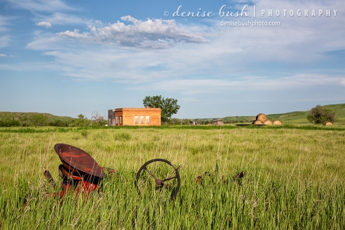 A small tractor style lawn mower sits among tall grass in this ghost town scene.