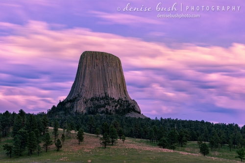 The sight of Devil's Tower is even more dramatic against a sunset sky.
