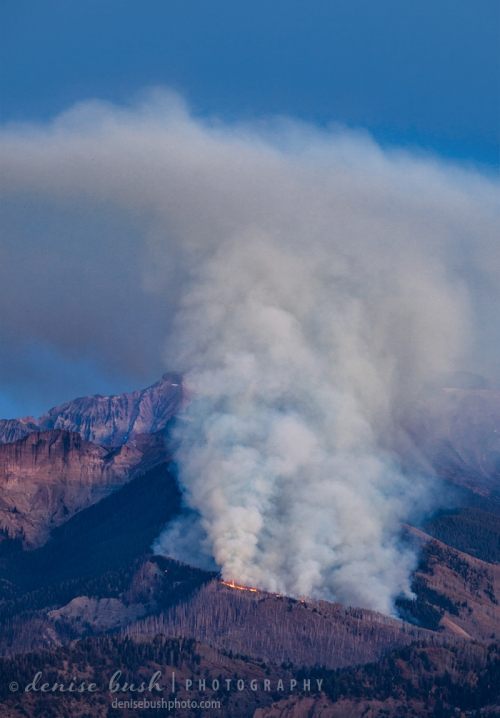 Flames can be seen on a ridge in a wildfire in the National Forest of Colorado.