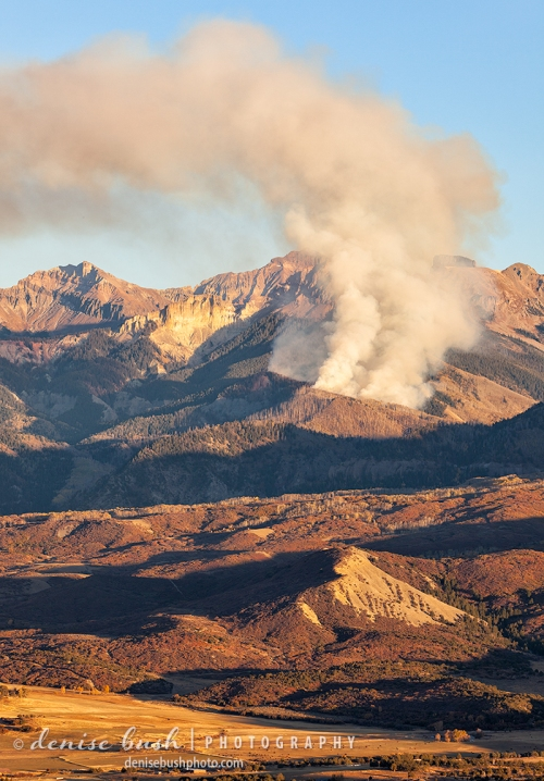 A wildfire burns in the National Forest near Ridgway Colorado.