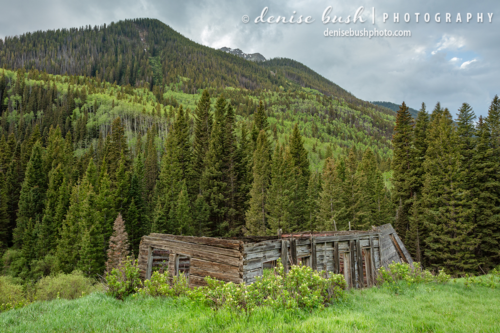 An old cabin, missing a roof is a weathered reminder of those who lived below the mountain years ago.