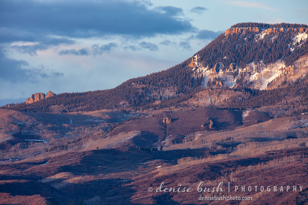 Light on the north end of Cimarron Ridge near Ridgway, The outcropping is known as the Castle Rock.