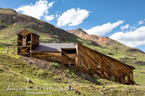 A stamp mill high in the mountains has been partially restored in order to preserve this piece of mining history.