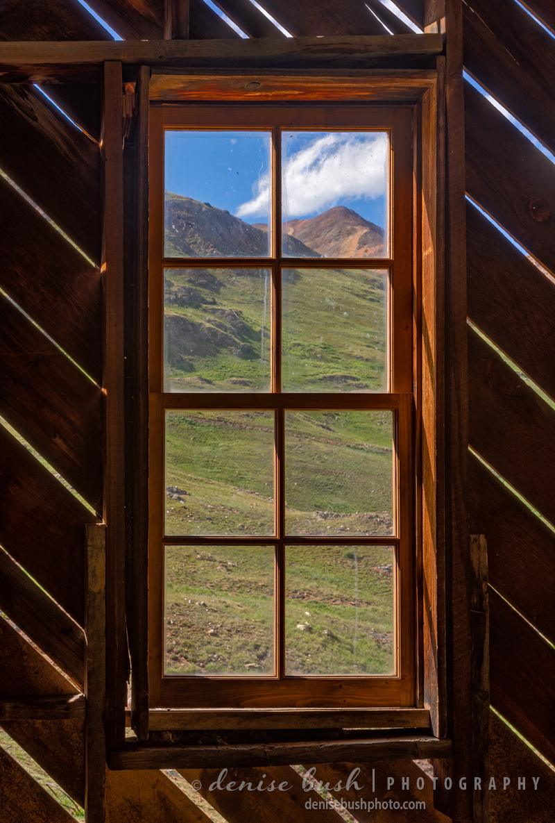 Colorado miners had great views like this one … looking out an old mill window.