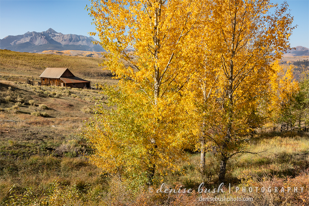A rustic barn sits on a mesa below Mount Wilson, near Telluride Colorado.
