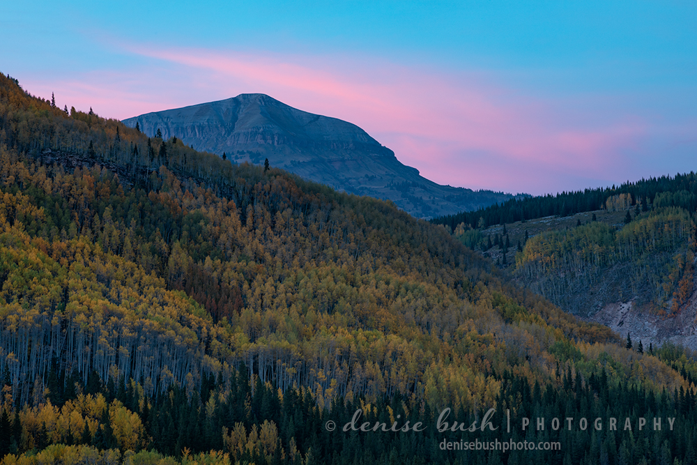 Sunset provides a little color behind this mountain peak in the San Juans.