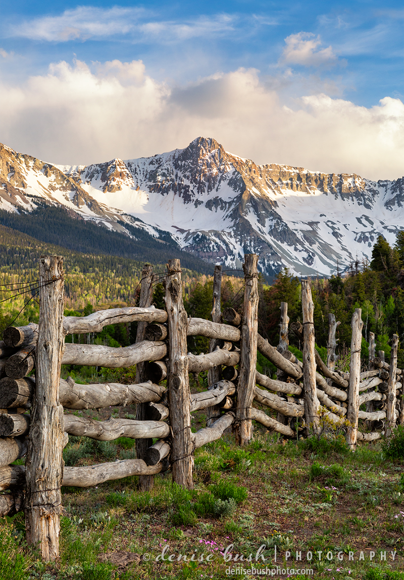 A fence with San Juan Mountain character makes a great background for Mears Peak near Ridgway.