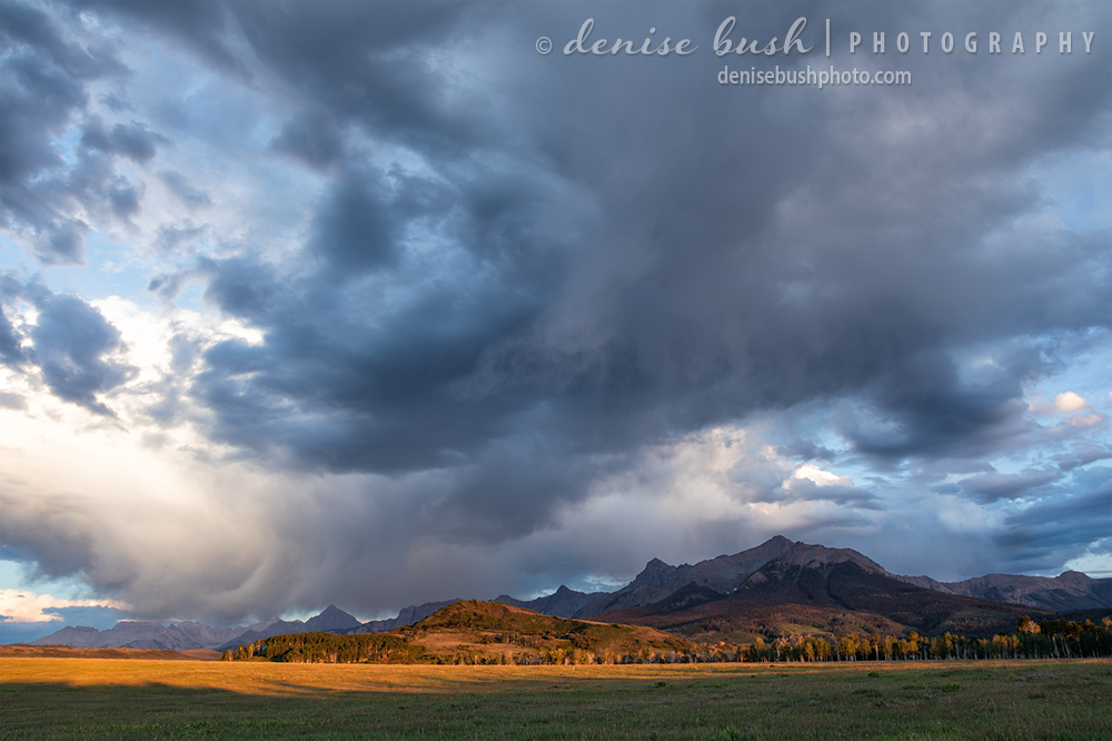 An unsettled sky creates cloud interest over the Sneffels Range near Ridgway, Colorado.