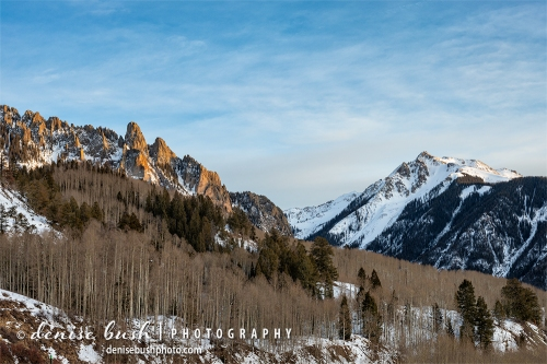 Near Telluride, the Ophir Needles are beautiful forms in the last light of day.