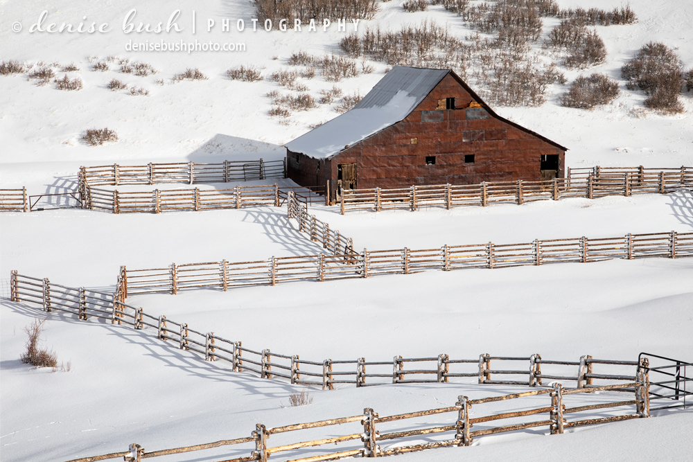 A barn that was featured in the original True Grit movie, starring John Wayne still stands, surrounded by a new fence and snow.