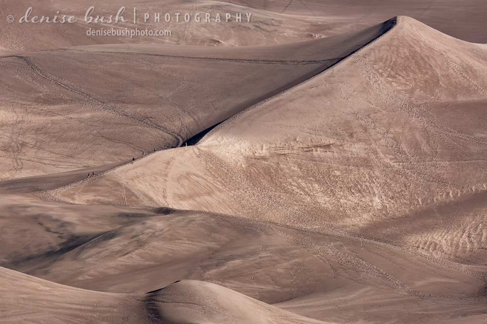 Some people hiking below look tiny, giving scale to the dunes.