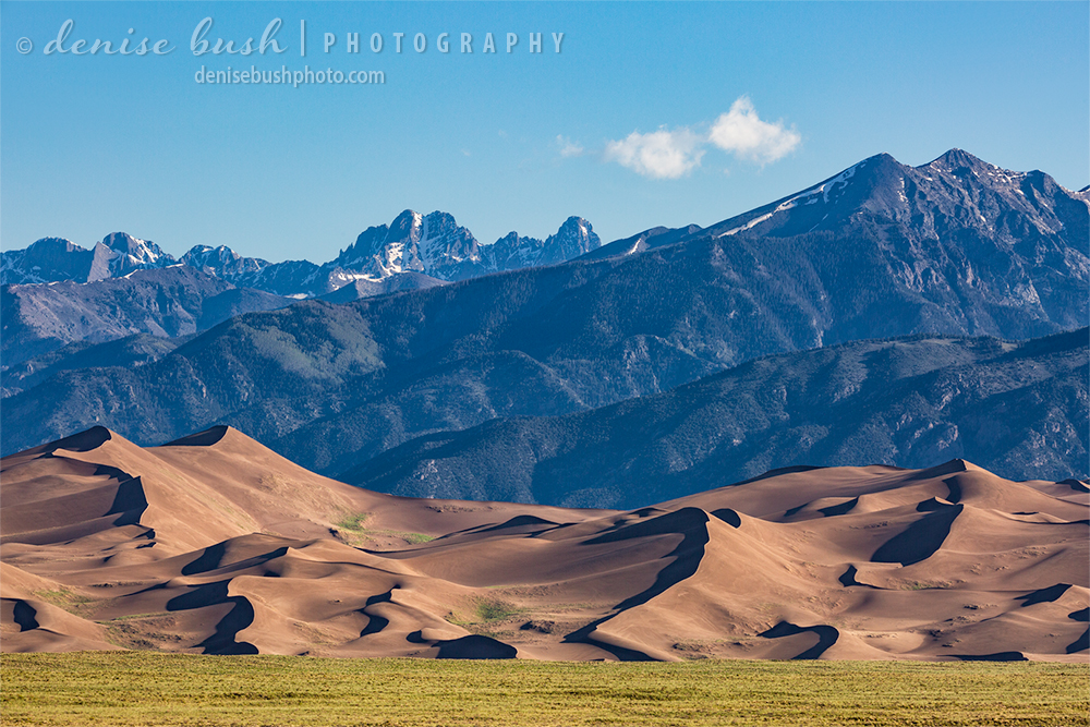 The Great Sand Dunes National Park make an unusual foreground to Colorado's Sangre de Cristo Mountains.