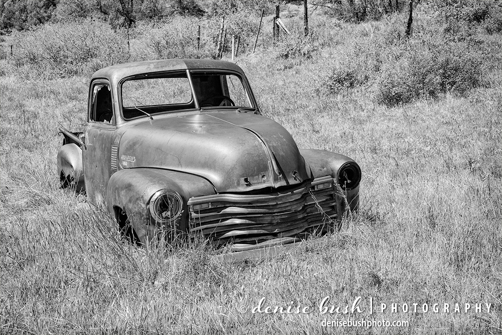 An old chevy truck rusts away in an abandoned farm field.