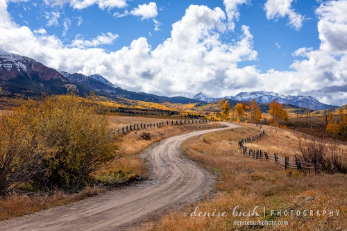 A curvy dirt road winds through the countryside toward the autumn colors up ahead.