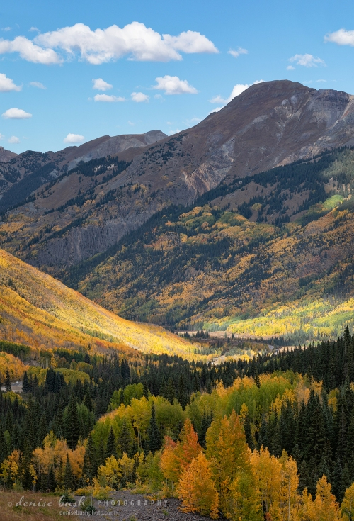 The Million Dollar Hwy runs through this breathtaking valley in Ouray County, Colorado.