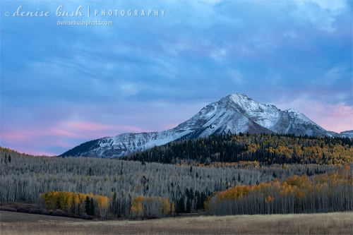 With a snowstorm expected overnight, here's the last look at some autumn foliage below Sunshine Mountain, near Telluride.